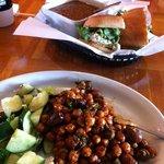 Chickpea salad, lentil soup and sandwich-YuMMM