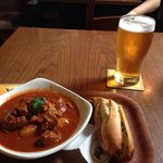 goulash and a pint of beer