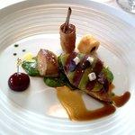 pigeon, foie gras poêlé et agneau