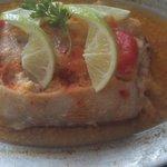 dorado relleno de cangrejo! delicioso!