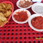holes in table. salsa and chips