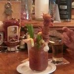 bloody masterpiece with bacon wrapped jalapeno cheese balls
