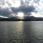 vista sul fiume al tramonto dall'hotel