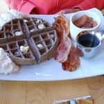 Blue corn meal waffle
