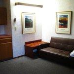 futon, fridge, microwave