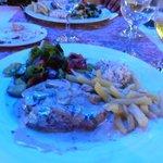 steak in blue cheese sauce.
