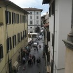 The view from our room along Via Rosina and to the market hall square.