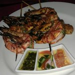 BBQ tiger prawns and dipping sauces