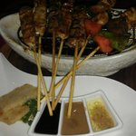 Mixed sate and dipping sauces