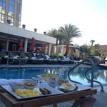 Enjoyable pool side breakfast