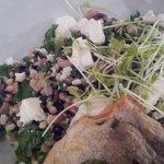 Faro bean salad, with sea bream