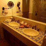 Hand-painted tiles in bathroom