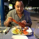 Hubby enjoying his lobster