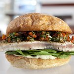 Seared albacore burger