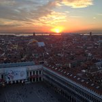 Looking out over St. Mark's from Campanile at Sunset