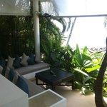 Outdoor sitting area near pool