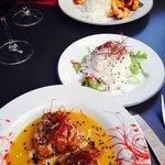 meat balls,rice, chilli prawns