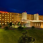 Hilton Garden Inn Rome Airport entrance and shuttle bus