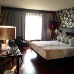 Our lovely big bed in our pet friendly room