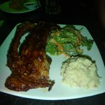 Port ribs, mash with bacon/ham and salad