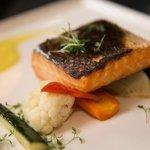 Salmon on veggies. Perfectly cooked.