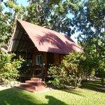 Vue du bungalow au milieu du parc