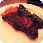 14oz NY sirloin with creamed spinach & squash brûlée. Sooo Goood!