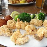 Fried shrimp, steamed broccoli & hushpuppies!
