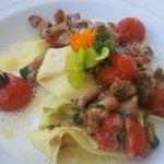 Offene Lasagne mit Pfifferlingen