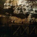 Vista del cenote y su iliminacion