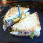 Sandwich vegetal de tapa con la caña