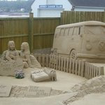 sand sculptures at St Catherine's Bay