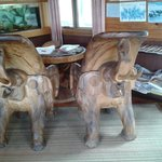 Elephant chairs, beautifully carved.