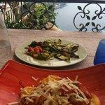 Ravioli and side of vegetables