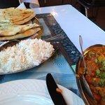 garlic stuffed naan and navratan curry