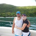 Us on the boat at Honeymoon Beach