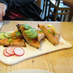 Salmon and avocado flat bread