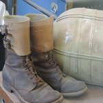 Second floor, WWI combat boots