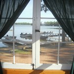 View of the lake & docks from the dining room of cabin 1
