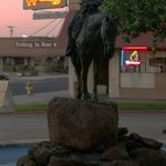 statue on the plaza at the H - B  Saloon