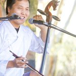 Mongolian throat singer Buhku at the July Courtyard Session's celebration of World Music.