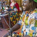 July Courtyard Session artists King Marong and Bec Matthews at the World Music Celebration.