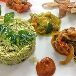 Curry leaf rice with accompaniments