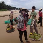 a fruit seller on the nearby beach.