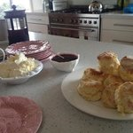 Tea set... the home made jam and cream are very yummy