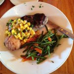 NY Strip with Mango Salsa and crab cake