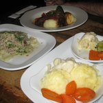 delicious bacan & cabbage and sausage & mash