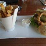 burger, chips and dip