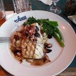 Delicious grilled fresh halibut with Fig and gorgonzola on top! YUM
