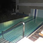 Night-time view of our room's private pool